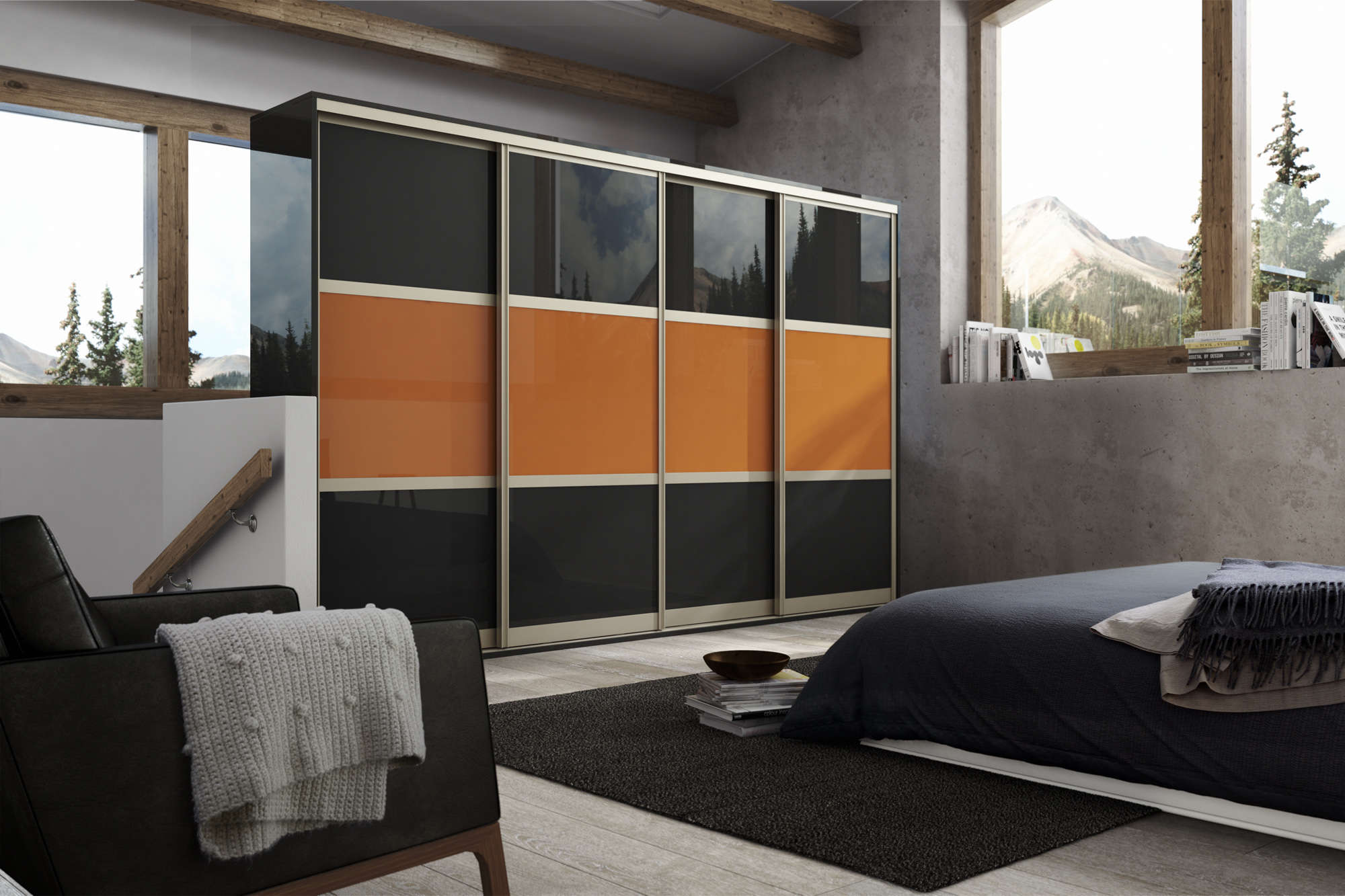 Black and orange bedroom - Champagne Black And Orange Gloss