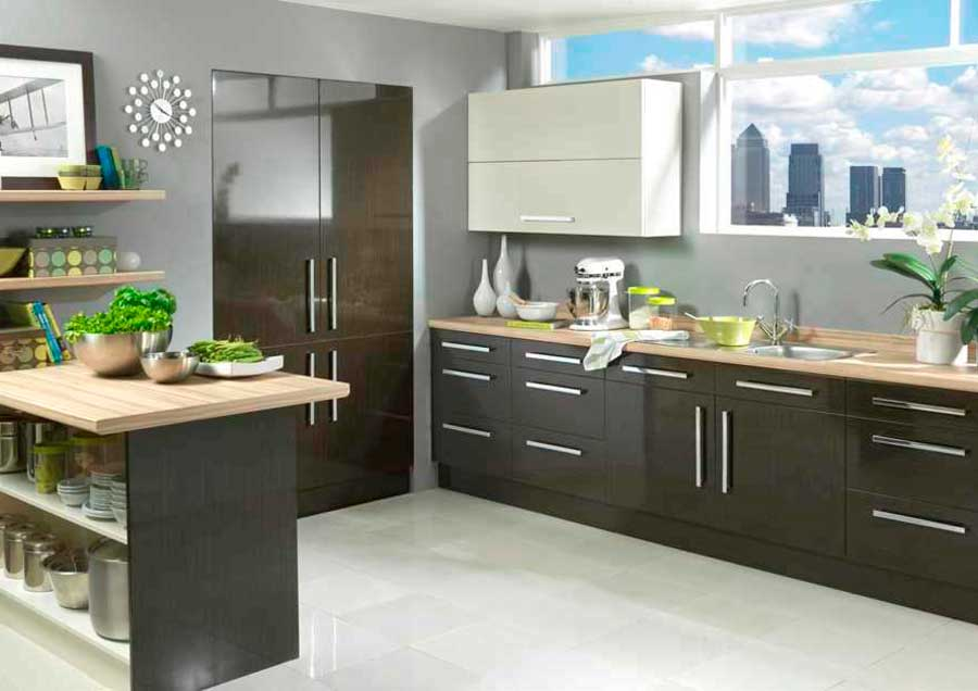 Vienna - High Gloss Black Washed Oak and Cream